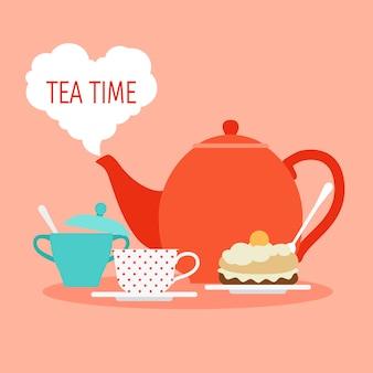 Hora do chá com chá e bolo