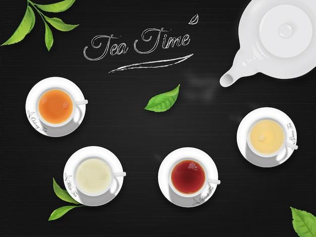 Hora do chá com fundo preto