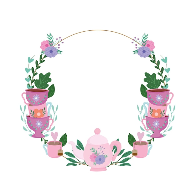 Hora do chá, decoração de copos de coroa de flores com flores e ilustração de folhas