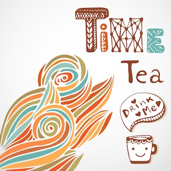 Hora do chá. letra do doodle com copo bonito. decoração de onda de outono