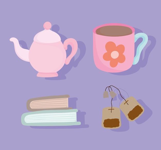 Hora do chá, livros e saquinhos de chá cor-de-rosa para copos de bule, utensílios de cerâmica para cozinha, ilustração de desenho animado