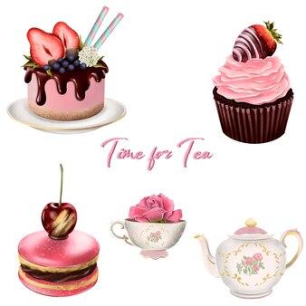 Hora do chá. macaroons, muffins, bolo e uma xícara de chá com um bule de chá. elementos isolados do vetor.
