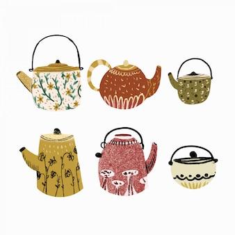 Hora do chá mão desenhada coleção
