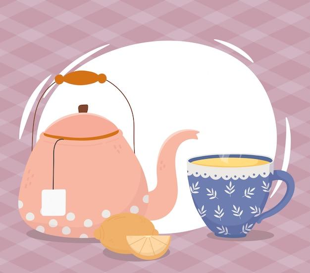 Hora do chá, xícara de chaleira e bebida meio limão inteira