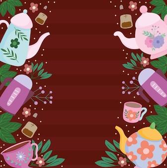 Hora do chá, xícaras de bule com folhas de flores ilustração de fundo marrom natural