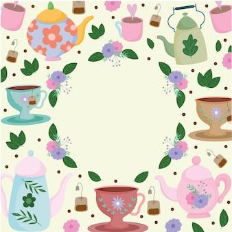 Hora do chá, xícaras de bule floral com grinalda, folhas flores, ilustração fresca