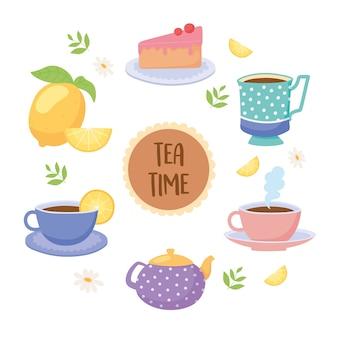 Hora do chá xícaras de chá bule bolo limão bebida ilustração folha