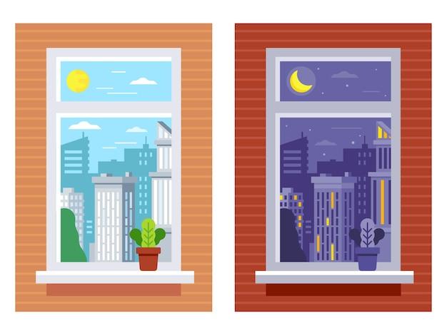 Hora do dia na visualização da janela. vista da janela diurna e noturna.