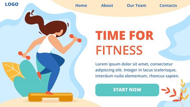 Hora do fitness banner. esporte estilo de vida saudável