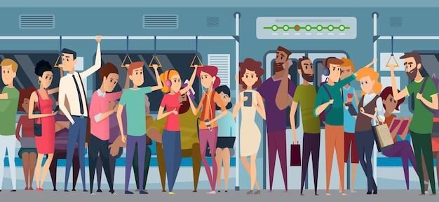 Hora do rush do metrô. multidão no metrô urbano diariamente apressando as pessoas que vão para o trabalho, viajantes de trem com personagens de desenhos animados de telefones e livros.