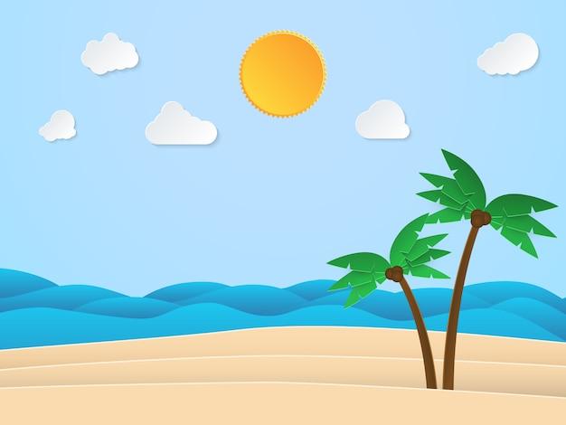 Hora do sol de verão. mar com praia e coqueiro. estilo de arte de papel. ilustração.