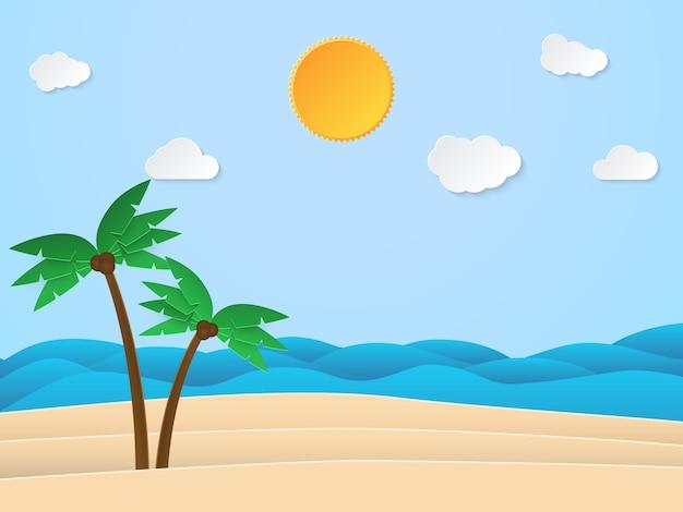 Hora do sol de verão. mar com praia e coqueiro. estilo de arte de papel.