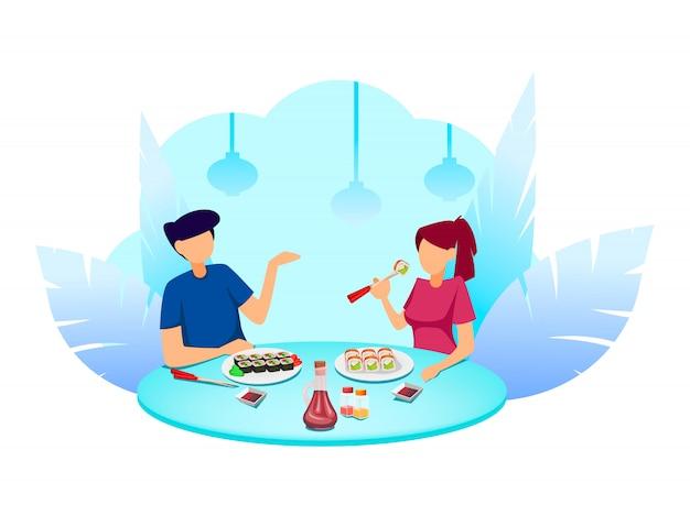 Hora do sushi, casal no café comendo rolos
