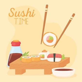 Hora do sushi, pauzinho com molho de soja e vários rolos de ilustração