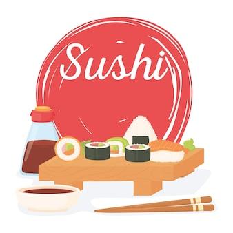 Hora do sushi, rolos de molho cozinha japonesa tradicional ilustração do pôster