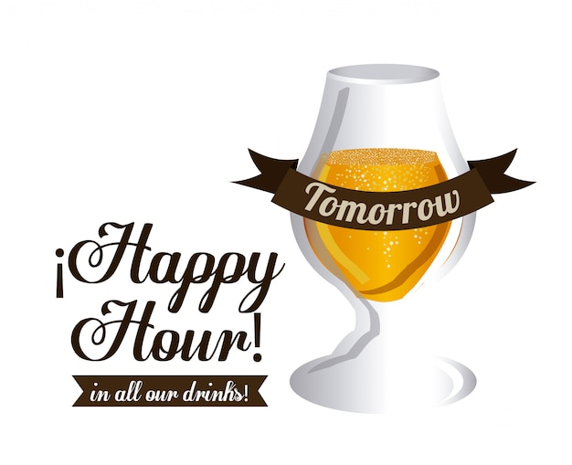 Hora feliz. projeto de cerveja, ilustração vetorial.