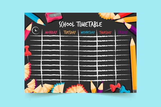 Horário da escola de design plano