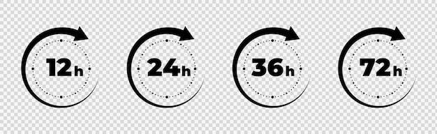 Horário da seta do relógio conjunto de ícones de horário de serviço de entrega