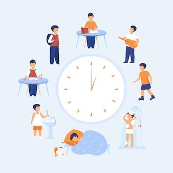 Horário de criança em idade escolar