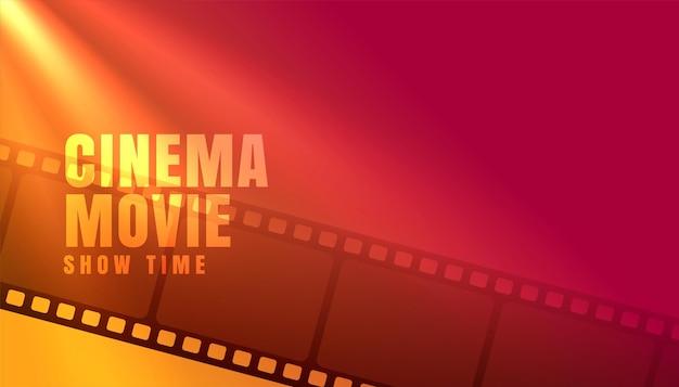 Horário de exibição de filme de cinema com fundo de tira de filme