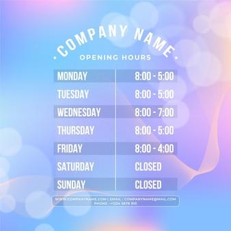 Horário de funcionamento da empresa gradiente ornamental