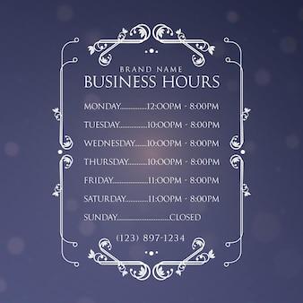 Horário de funcionamento da empresa ornamentais