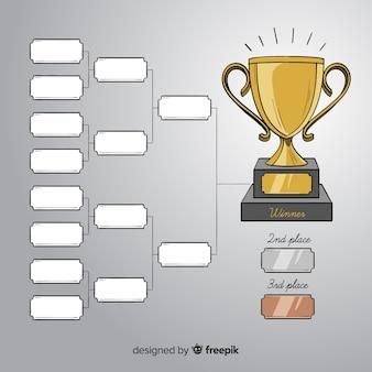 Horário de torneio moderno desenhado à mão