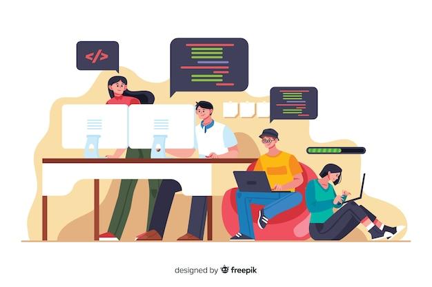 Horário de trabalho do escritório cartoon programadores
