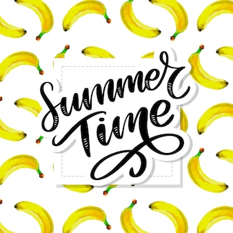 Horário de verão aquarela sem costura padrão com bananas. desenho tropical. ilustração de frutas de verão.