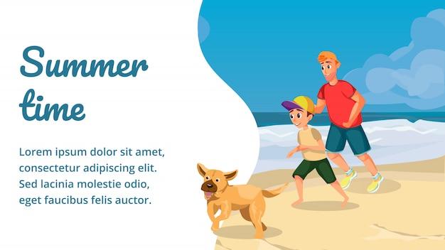 Horário de verão cartoon família feliz brincar com cachorro