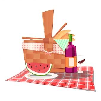 Horário de verão com cesta de piquenique