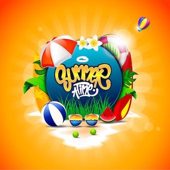 Horário de verão com coqueiros, bolas de praia, copos, melancias e alguns elementos de praia