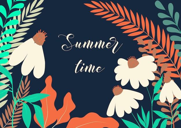 Horário de verão com flores de camomila plana e várias plantas de pastagem em azul escuro