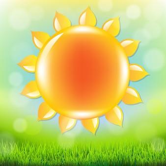 Horário de verão com grama e ilustração de malha de gradiente
