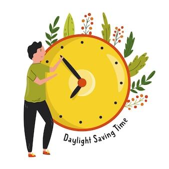 Horário de verão. desenho abstrato com um homem. mudando o tempo no relógio ilustração vetorial