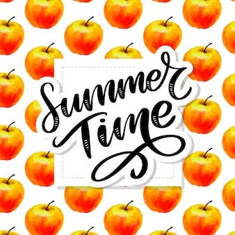 Horário de verão em aquarela sem costura padrão com maçãs