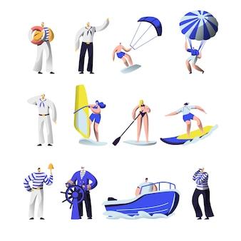 Horário de verão esportes radicais e conjunto de profissões do mar.