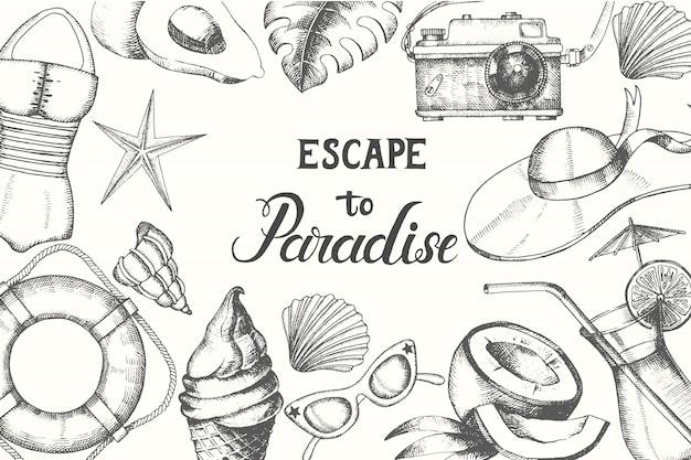 Horário de verão. fundo com mão de verão desenhado doodle símbolos e objetos