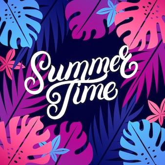 Horário de verão letras coloridas com plantas tropicais folhas.