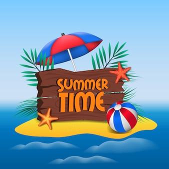 Horário de verão, lettering em sinal de madeira e ilha tropical
