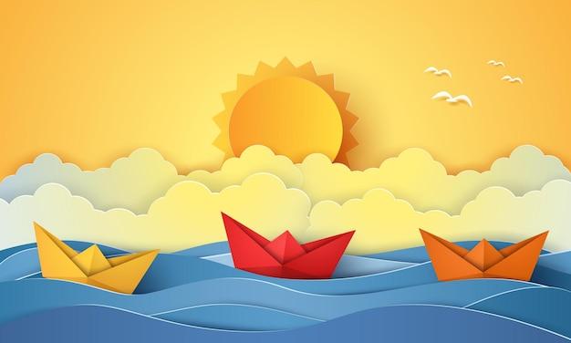 Horário de verão, mar com barco de origami e sol, estilo de arte em papel