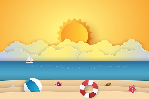Horário de verão, mar com praia, estilo arte em papel