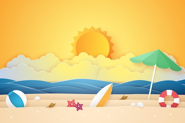 Horário de verão, mar e praia com coisas, estilo arte em papel