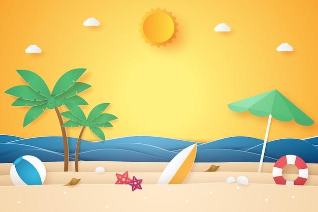Horário de verão, mar e praia com coqueiro e outras coisas, estilo arte em papel