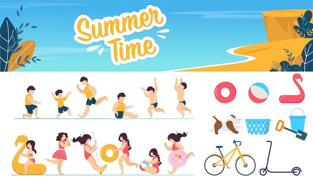 Horário de verão marinho conjunto com caracteres de crianças