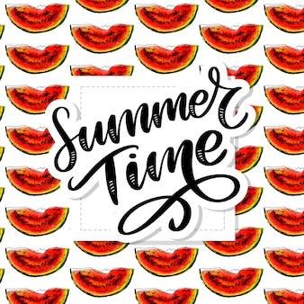 Horário de verão melancia sem costura padrão aquarela, peça suculenta, composição de verão de fatias vermelhas de melancia. obra .. para você s.