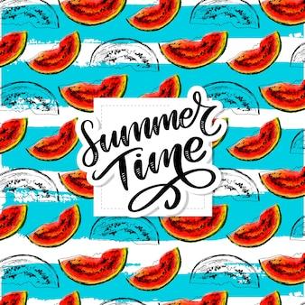 Horário de verão melancia vetor sem costura padrão aquarela