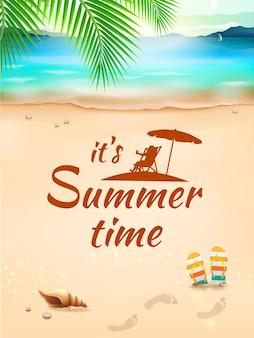 Horário de verão na paisagem de fundo, praia, ondas com objetos realistas. ilustração