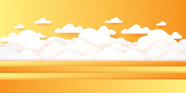 Horário de verão, paisagem com nuvens, céu claro, estilo de arte em papel