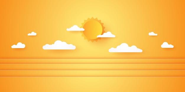 Horário de verão, paisagem com nuvens, céu nublado com sol forte, estilo de arte em papel